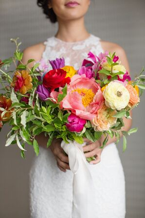 Bright Bouquet with Peonies, Ranunculus and Tulips
