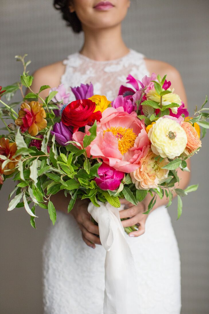Bright Bouquet With Peonies Ranunculus And Tulips