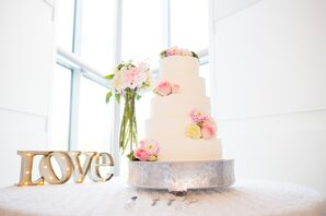 Five-Tier Buttercream Cake with Pink Flowers