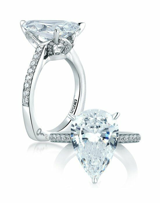 A.JAFFE Pear One Of A Kind Statement Engagement Ring ...