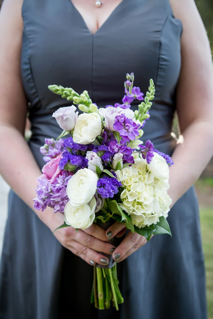 "The colorful bouquets included roses, lavender, stock and hydrangeas. ""We also included some ranunculus because I thought they were beautiful and have a great texture,"" says Tricia."