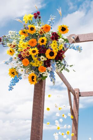 Rustic Mandap with Colorful Sunflowers, Baby's Breath and Marigolds