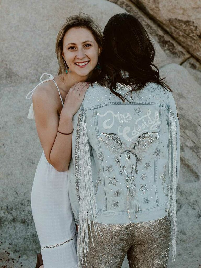 Embroidered bride jean jacket with rhinetones and pins
