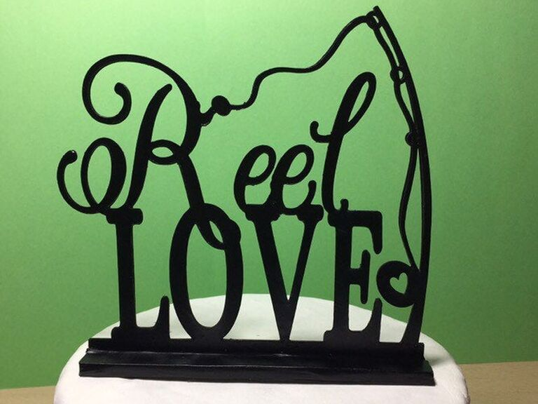 Reel Love fishing wedding cake topper