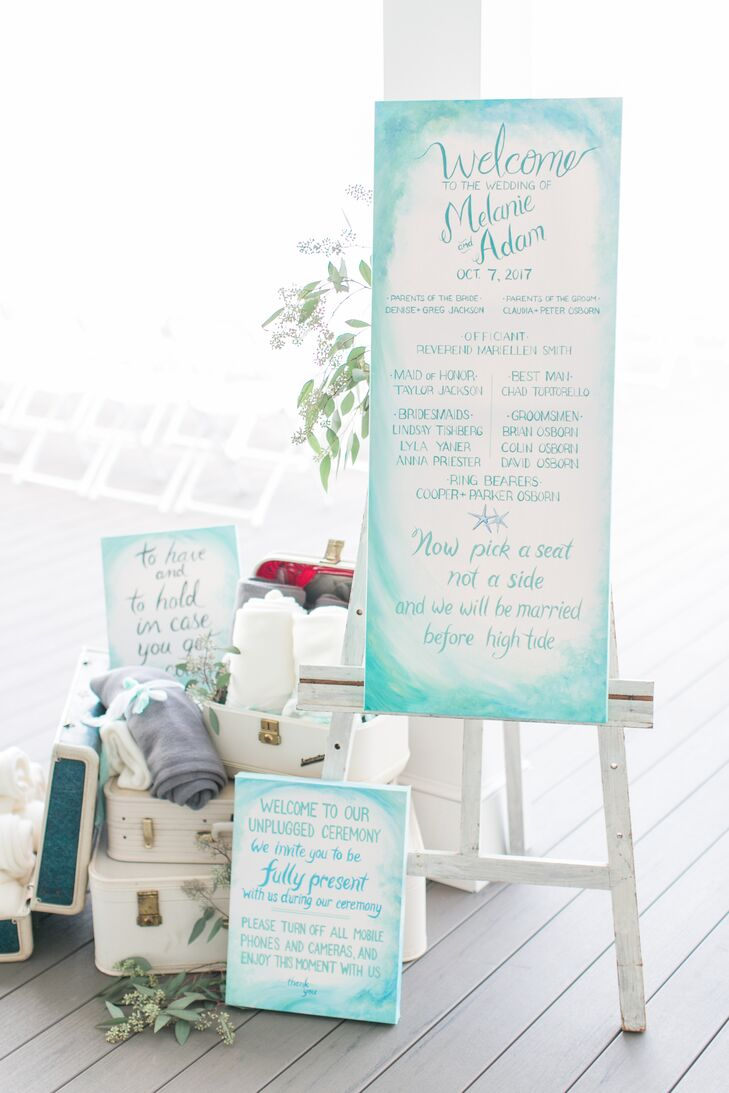 Watercolor Welcome Sign with Ocean Illustration and Blanket Favors