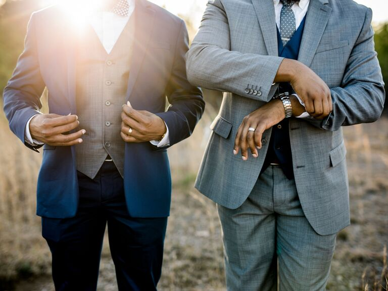 most popular wedding colors grooms wearing navy blue suits