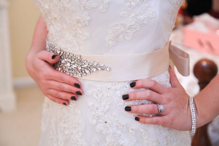 Ivory Rhinestone Embellished Bridal Sash And Dark Nail Polish