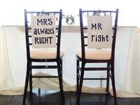 Funny wedding sweetheart chair signs