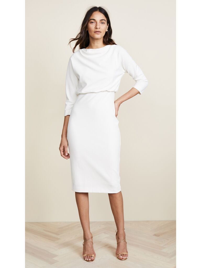 Crepe midi dress with draped bodice and three-quarter length sleeves