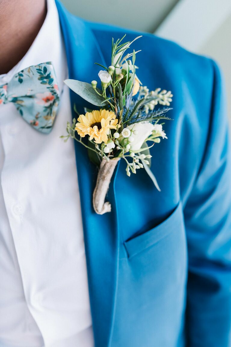 Boutonniere with mini sunflower wrapped in burlap