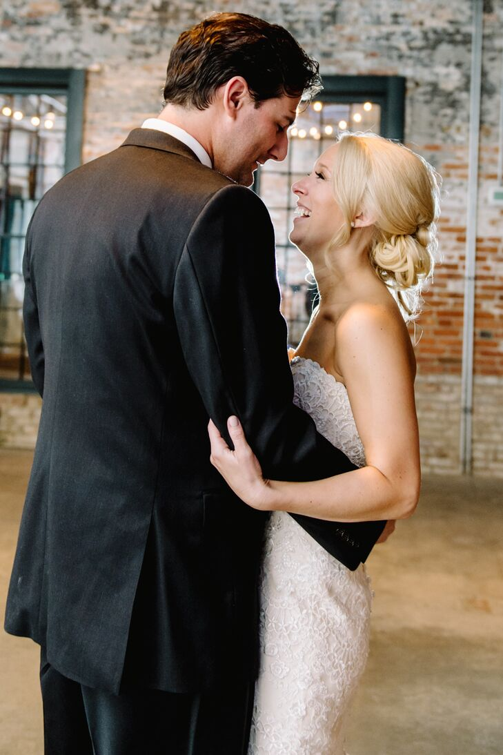 "Corinne and John shared their first dance together inside the rustic space at Mount Washington Mill Dye House in Baltimore, Maryland. They danced to ""At Last"" by Etta James, sung by their wedding band, Infusion."