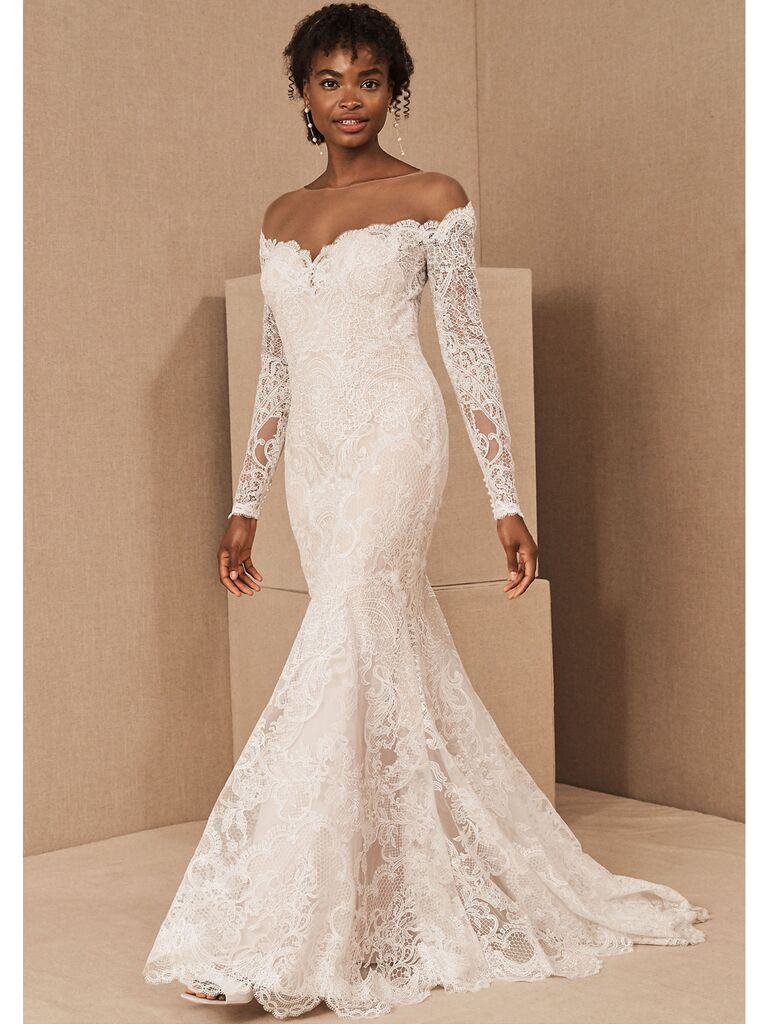 Lace mermaid off-the-shoulder dress with long sleeves