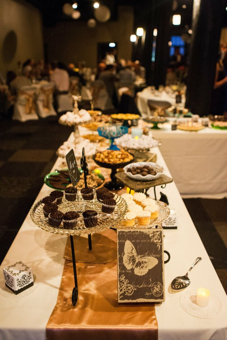 """""""For dessert, we had a dessert bar that was set up beautifully with all our favorites, from chocolate-dipped macaroons to mini cupcakes to candies made in my hometown,"""" Laura says."""