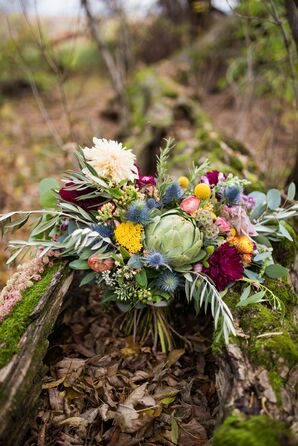 Colorful Bouquet with Dahlias, Scabiosa, Wildflowers and Greenery