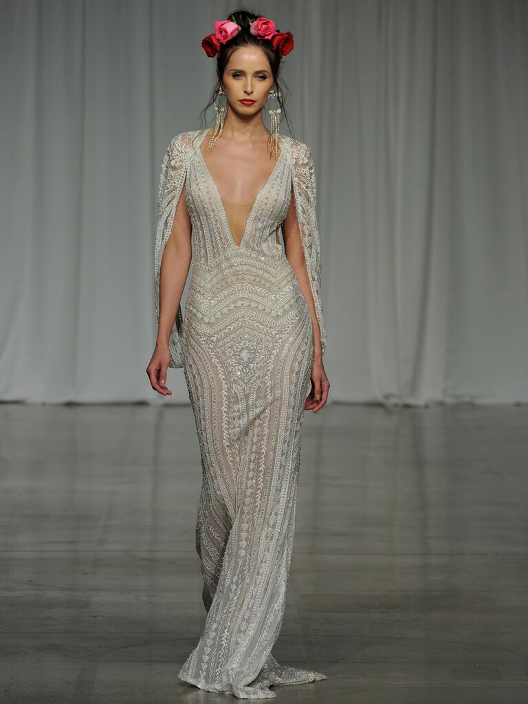 Julie Vino Spring 2019 embroidered wedding dress with a cape and sheer illusion V-neckline