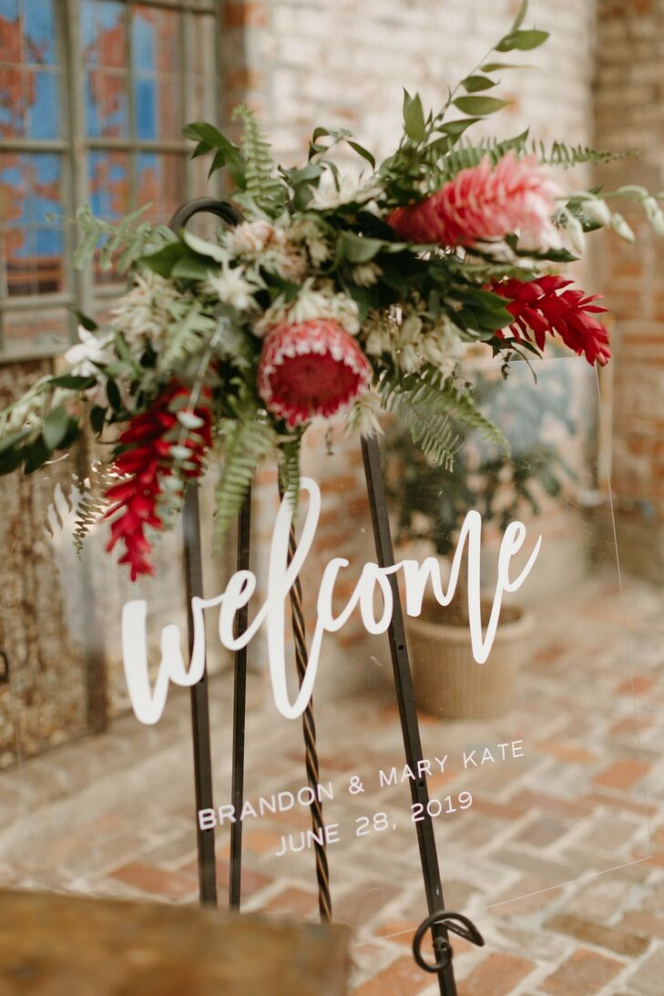 Acrylic Welcome Sign with Calligraphy and Tropical Flower Arrangement