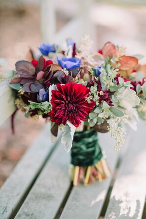 Red Chrysanthemum and Silver Brunia Bouquet