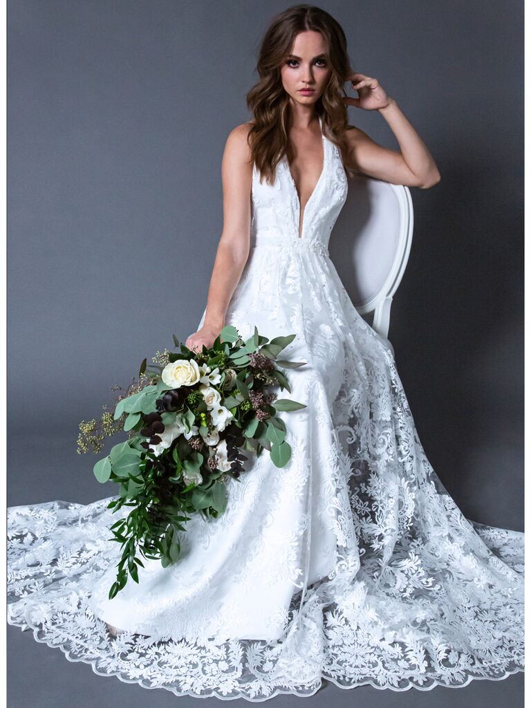 ROMONA New York RB027 lace wedding dress with plunging neckline