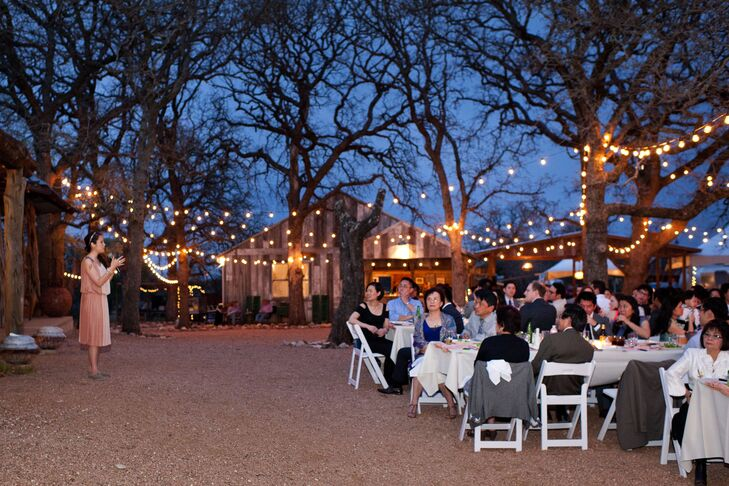 """The couple wanted an outdoor party where people didn't have to worry about the formalities of a wedding. """"We felt an affinity to Three Points Ranch because of the eclectic quality of the site; the airstreams and rustic pieces against the backdrop of the Texas hill country seemed unbeatable,"""" says Minh. The meal was served family style on long tables so that conversations could be more intimate."""