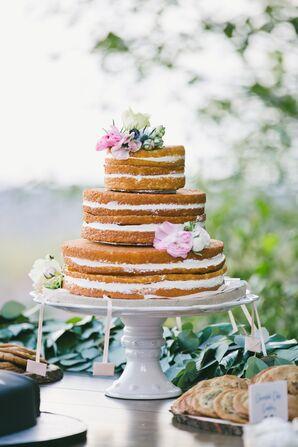 A Simple, Flower-Adorned Wedding Cake