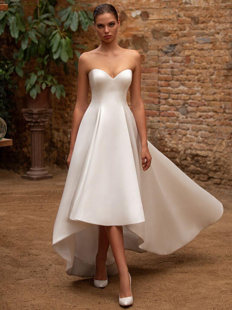 Zac Posen for White One strapless high-low dress