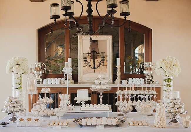 white dessert table | Luxury Estate Weddings & Events | blog.theknot.com