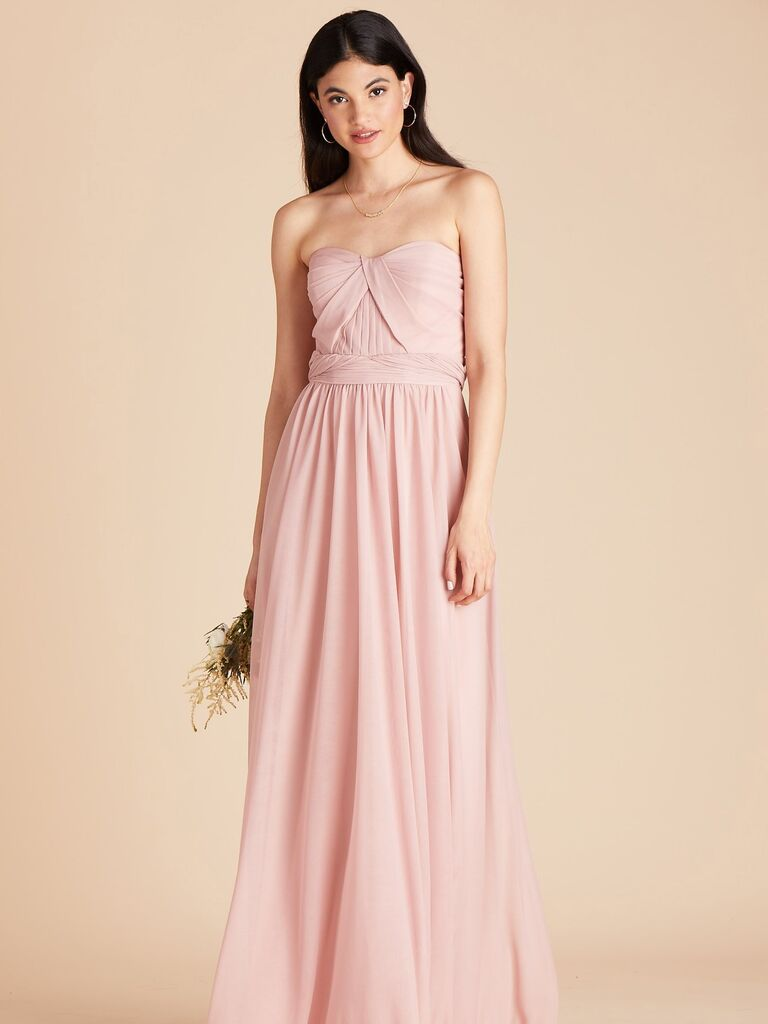 Strapless pink bridesmaid dress under $100