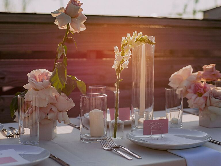 spring wedding centerpieces bush flowers in clear vases