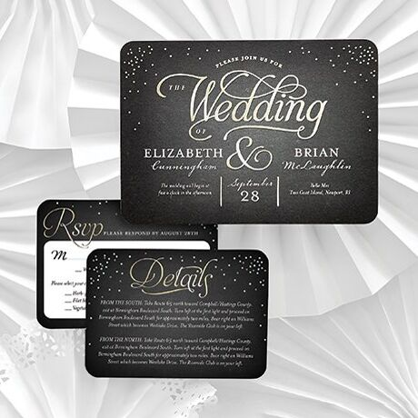 One-of-a-kind, customizable wedding invitations featuring a black background with calligraphy font.