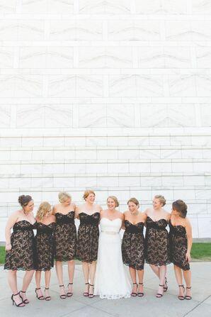Black Lace Amsale Bridesmaid Dresses
