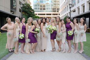 Champagne and Purple Bridesmaid Dresses