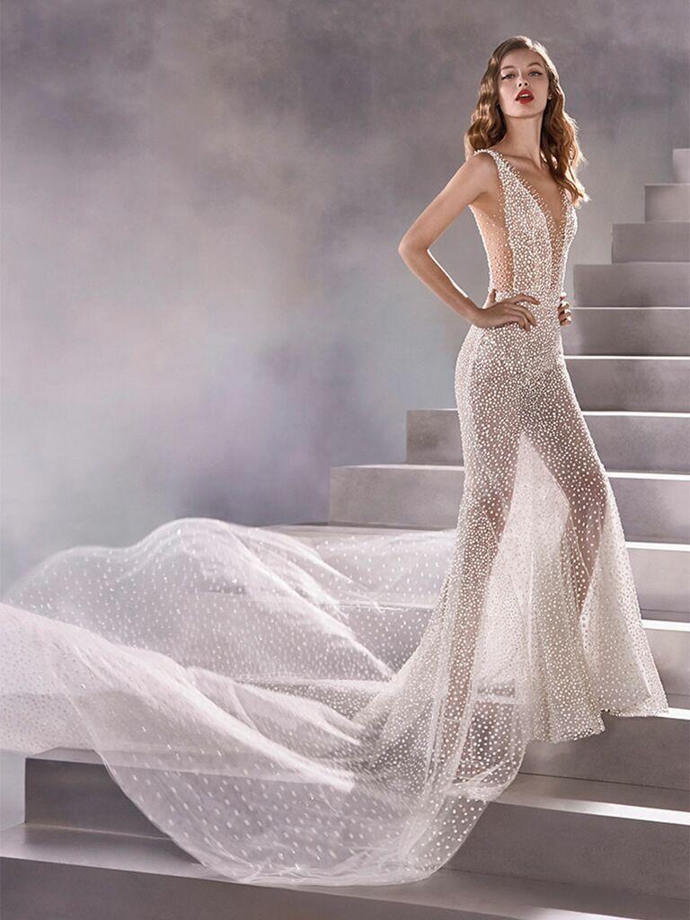Atelier Provonias wedding dress sheer beaded sheath dress
