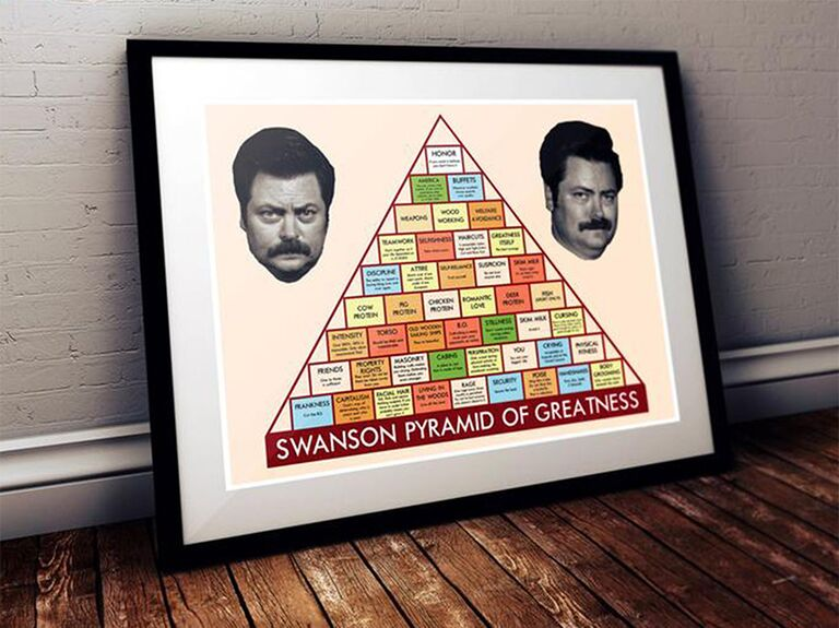 Funny art print of Ron Swanson's head and pyramid of greatness