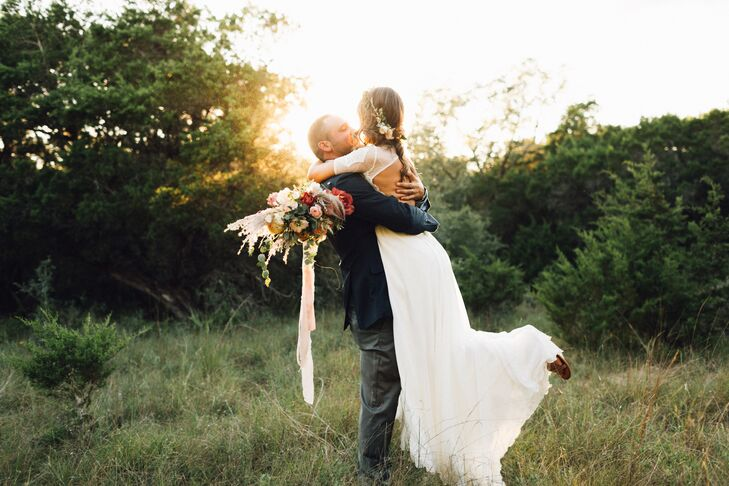 Bohemian Couple in Field After Elopement