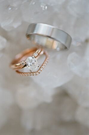 Romantic Rose Gold Solitaire Engagement Ring and Platinum Wedding Band