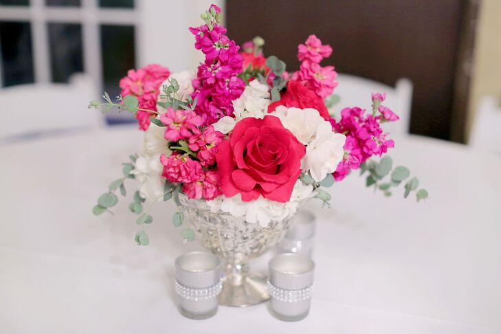 Bright Pink Roses Stock And Hydrangeas Filled The Eclectic Mercury Gl Vases Vintage Centerpieces