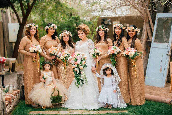 """""""I wanted my bridesmaids to feel beautiful and shimmery,"""" says Vanessa. She found a shimmery metallic gold fabric for her bridesmaids' dresses and had them fashioned by a seamstress to bring her vision together."""