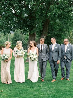 Classic Wedding Party with Neutral Dresses, Natural Bouquets  and Gray Suits