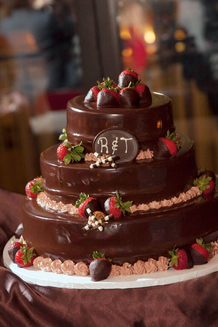Tiered Chocolate Wedding Cake With Chocolate Covered Strawberries