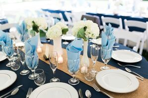 Milk-Glass Centerpieces With White Hydrangeas