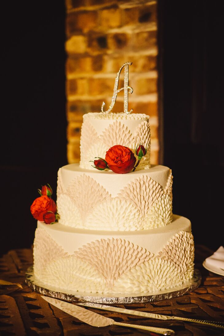 Elegant Wedding Cake with Textured Scalloping in Houston, Texas