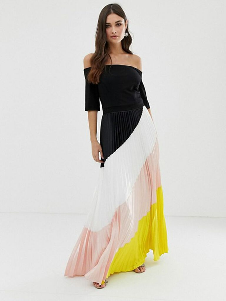 a53e6daa0c0c Off-the-shoulder spring wedding guest dress
