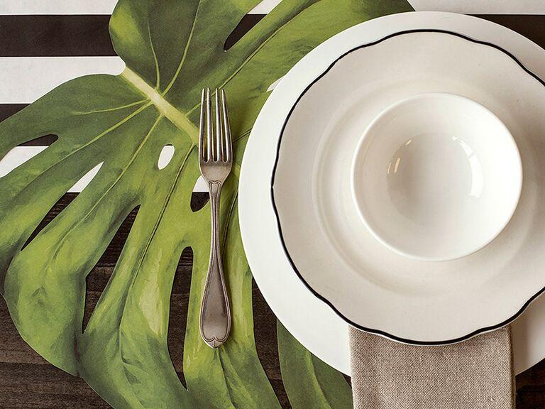 Tropical leaf place mats wedding table decor