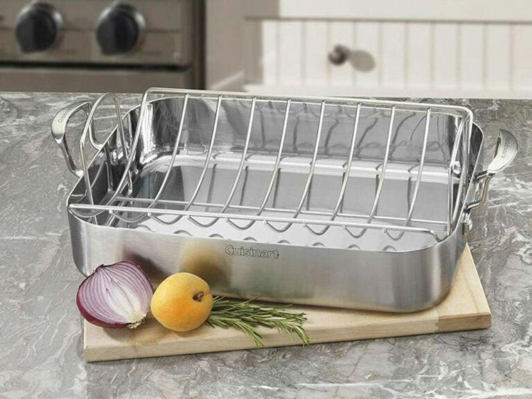 Stainless steel roasting pan and rack
