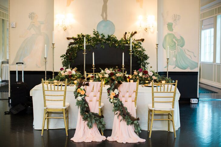 """We had a head table with gold chiavari chairs laced with peach chiffon, along with many candles throughout,"" Keeley says. The intricate flowers gave the table true Southern charm."