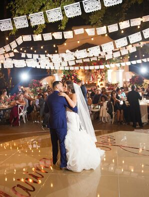 Traditional First Dance with Hanging Papel Picado Display