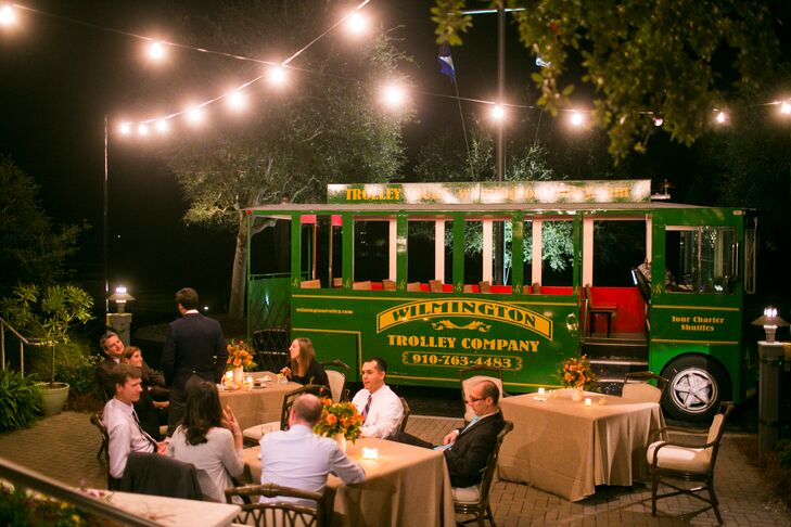 After the dinner reception at the Figure 8 Island Yacht Club, they hopped on a trolley from Wilmington Trolley Company.