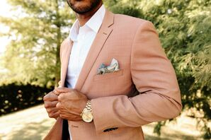 Terra-Cotta Suit Jacket, Gold Watch and Printed Pocket Square