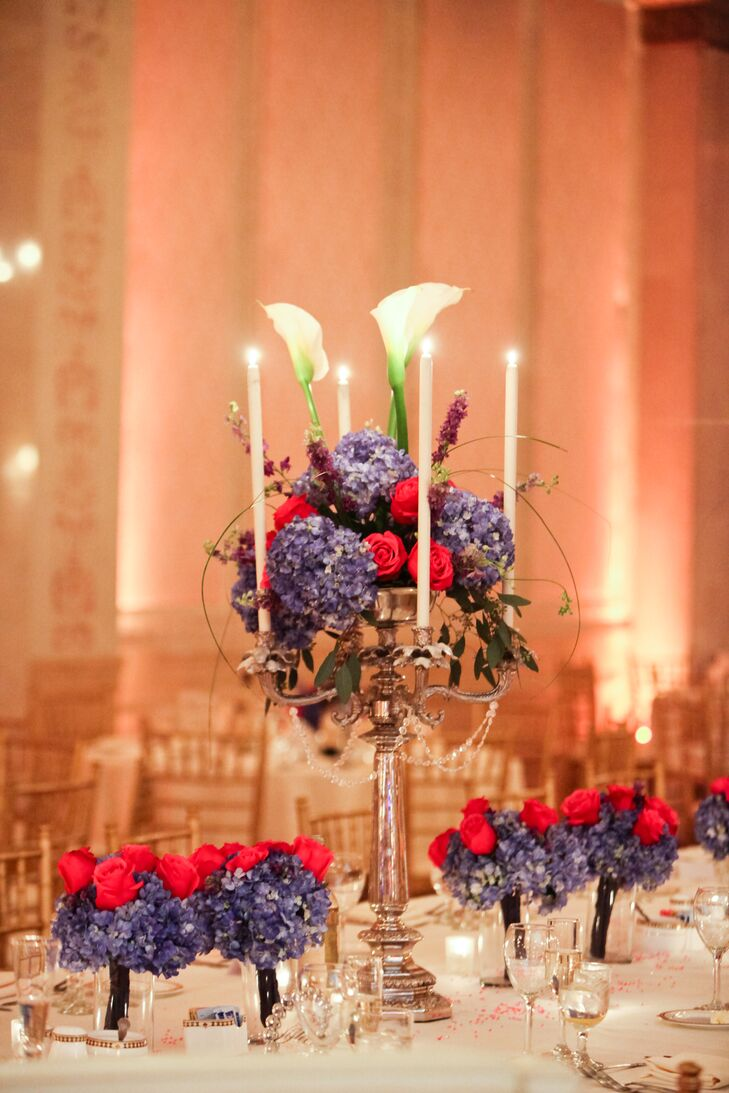 Outstanding Tall Candelabra Centerpieces With Red Roses Blue Hydrangeas Download Free Architecture Designs Scobabritishbridgeorg