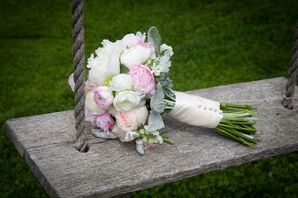 Blush Peony and Dusty Miller Bridal Bouquet